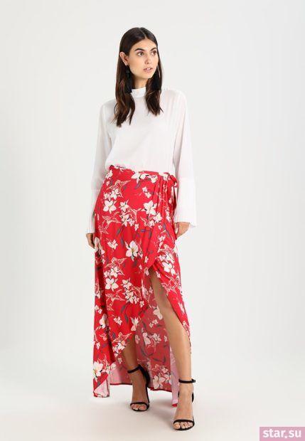 Летняя красная юбка с запахом 2018 года