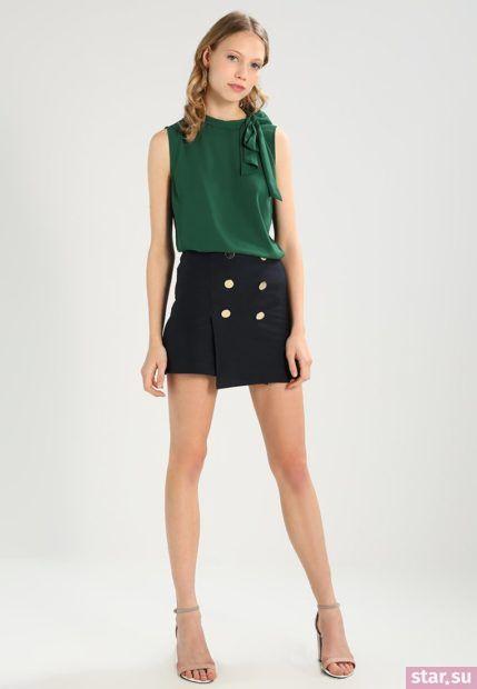 Летняя черная юбка с запахом 2018 года
