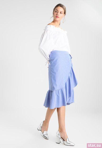 Летняя голубая юбка с запахом 2018 года