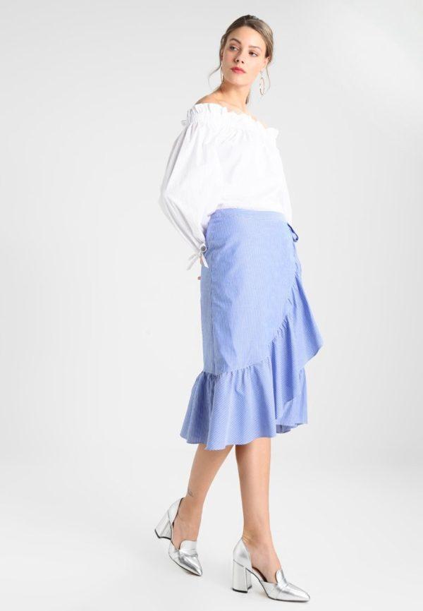 Летняя голубая юбка с запахом 2019 года