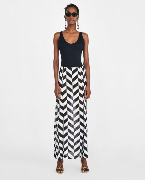 летние юбки 2019 года: черно-белая