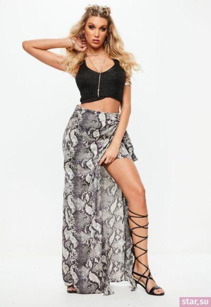 Летняя змеиная юбка с асимметрией 2018 года