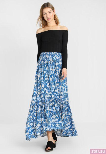 Летняя голубая юбка макси 2018 года