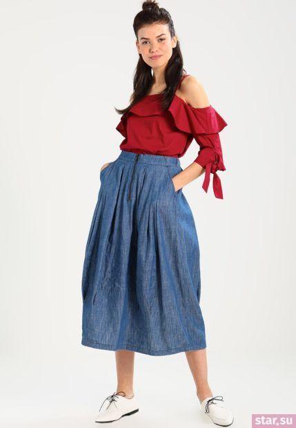 Летняя джинсовая юбка макси 2018 года