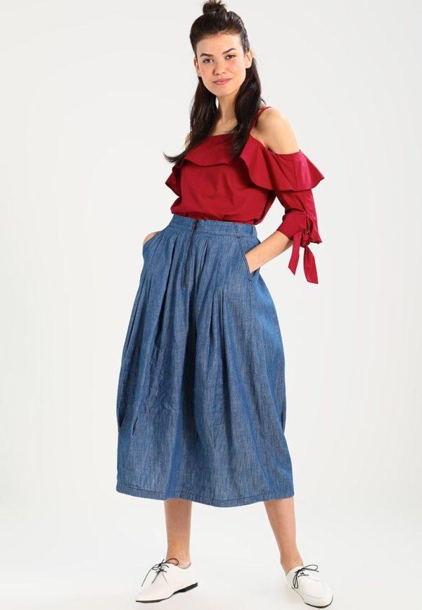 Летняя джинсовая юбка макси