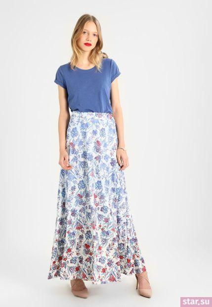 Летняя цветастая юбка макси 2018 года