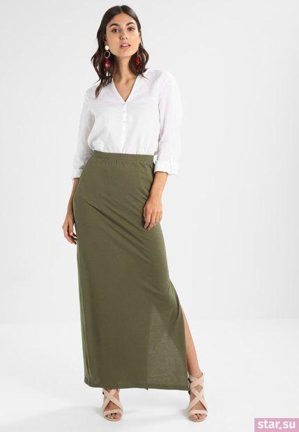 Летняя оливковая юбка макси 2018 года