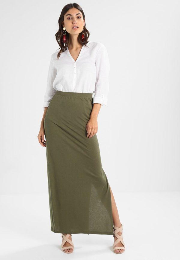 Летняя оливковая юбка макси