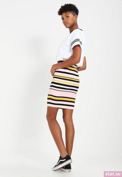 Летняя полосатая юбка карандаш 2018 года