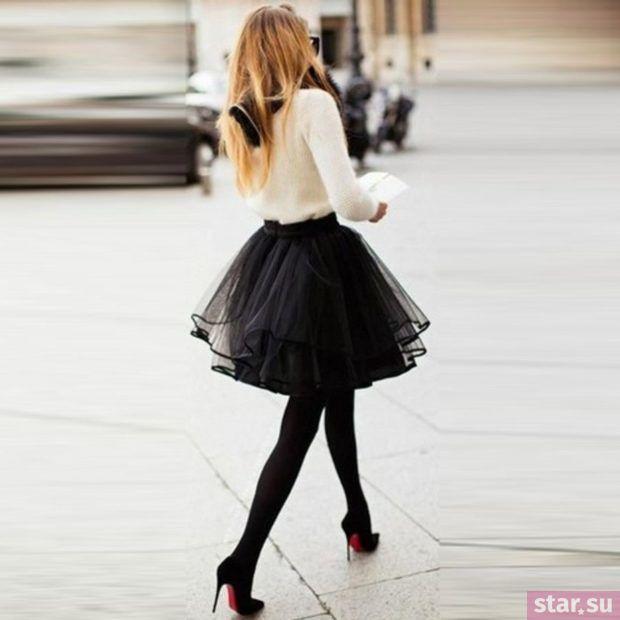 Летняя черная пышная юбки 2018 года