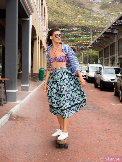 Летняя цветастая пышная юбки 2018 года