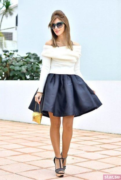 Летняя синяя пышная юбки 2018 года