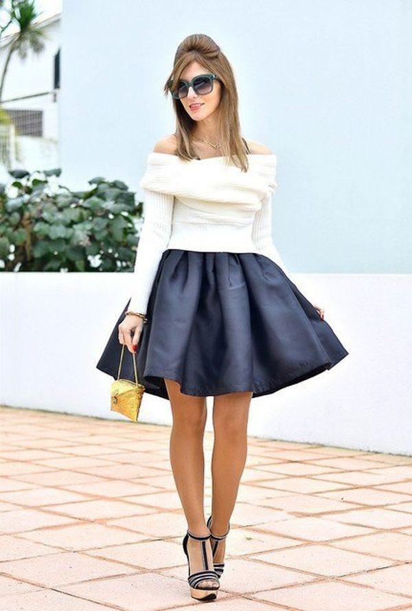 Летняя синяя пышная юбки