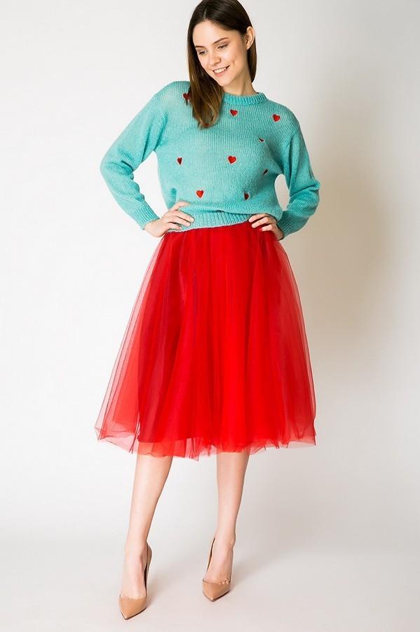 Летняя красная пышная юбки
