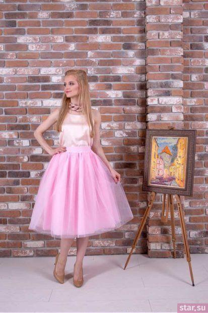 Летняя розовая пышная юбки 2018 года