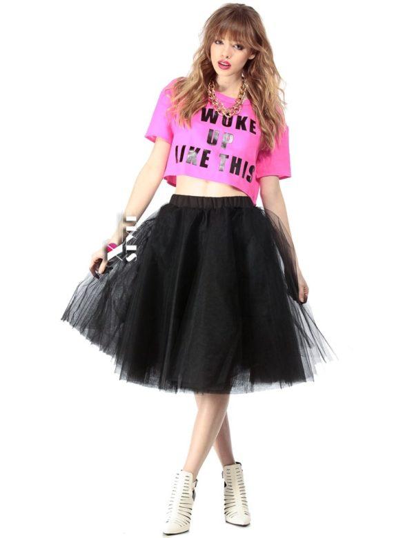 Летняя черная пышная юбки