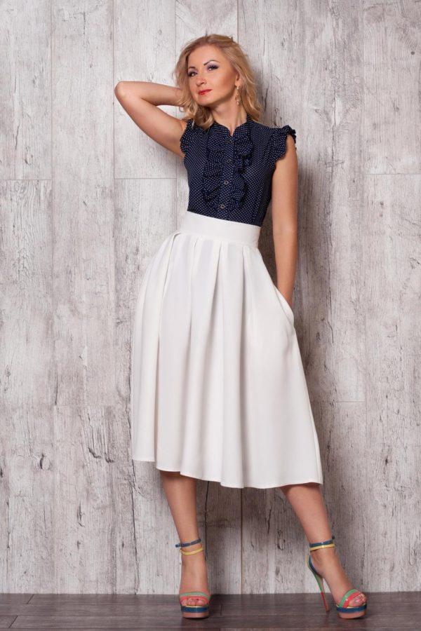 Летняя белая пышная юбки