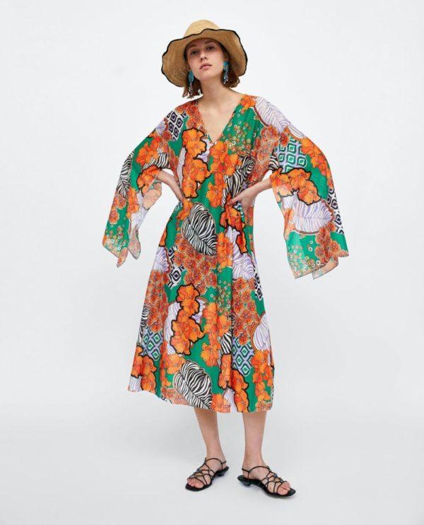 платье с принтом в оранжевые цветы