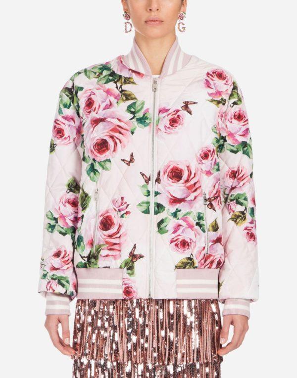 куртка с принтом розы
