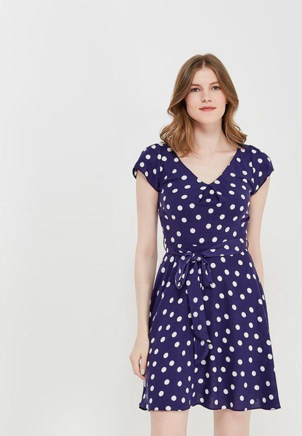 синее платье горох