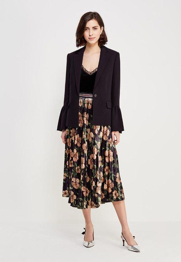 цветная юбка черная под жакет