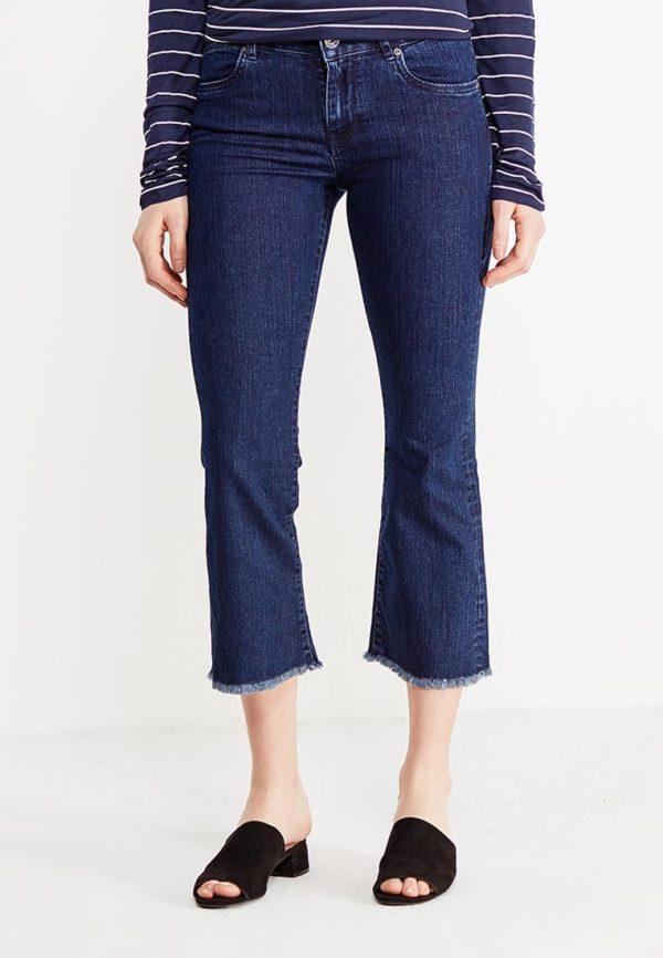 укороченные джинсы синие