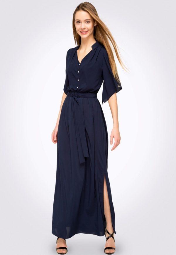 длинное темно-синие платье