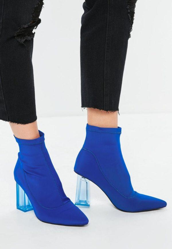 синие на толстом каблуке