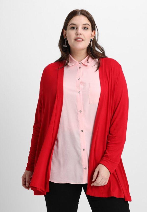 Модный кардиганы: Женский красный для полных
