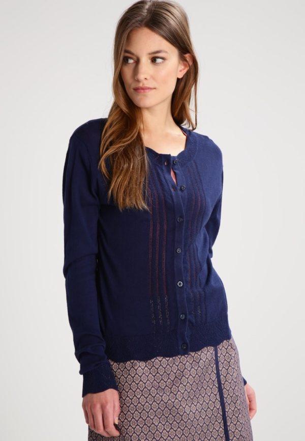 Модный кардиганы: синий свитер