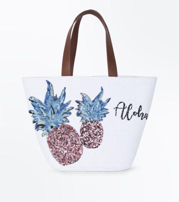 белая с ананасами сумка