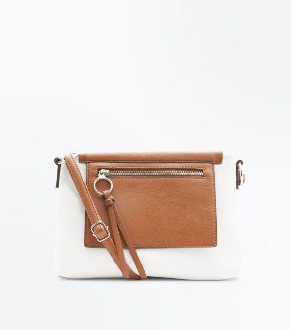белая с коричневым сумка