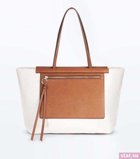 белая с коричневым сумка весна лето 2018