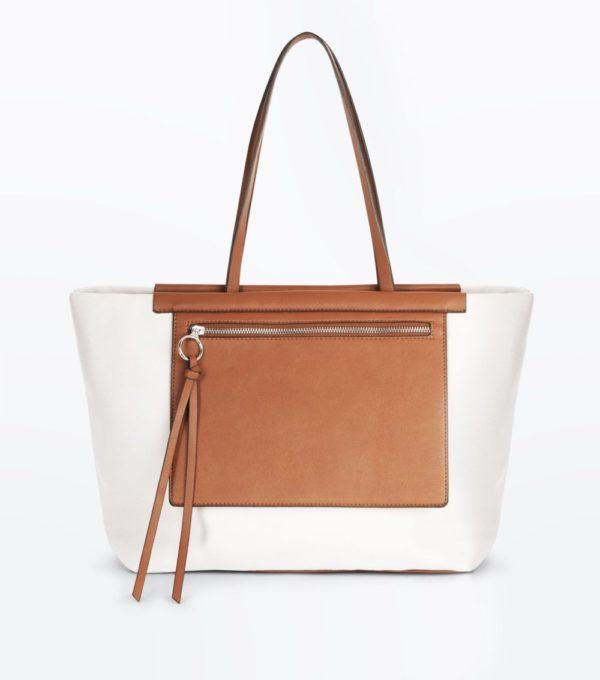 белая с коричневым сумка весна лето