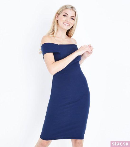 Модное синее платье весна лето 2018 года