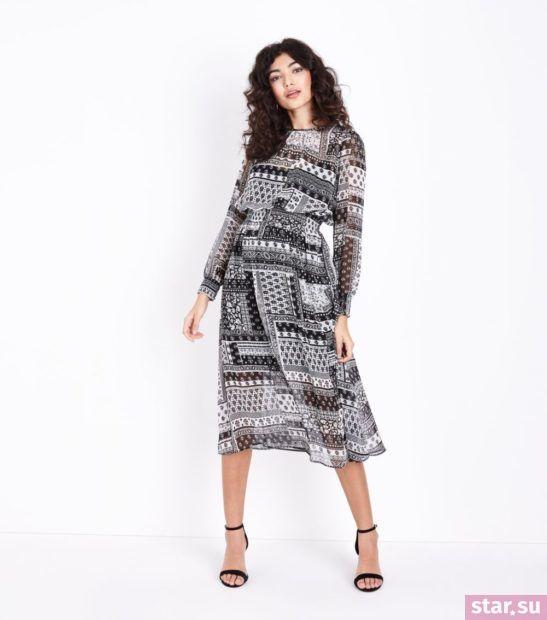 Модное черное белым платье весна лето 2018 года