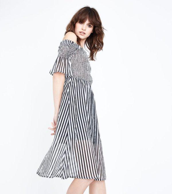 Модные тенденции весна лето: черное с белым платье