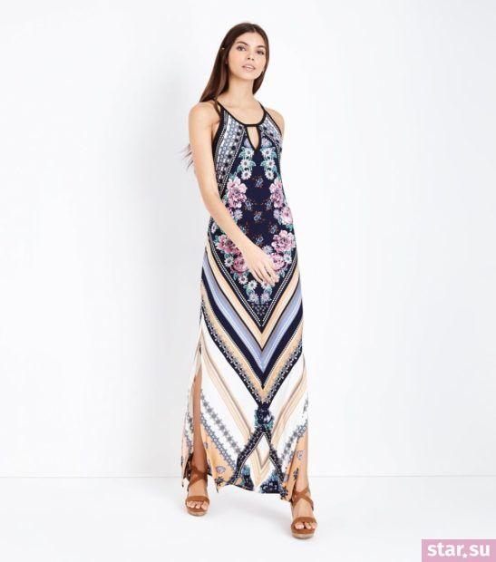 Модное разноцветное платье весна лето 2018 года