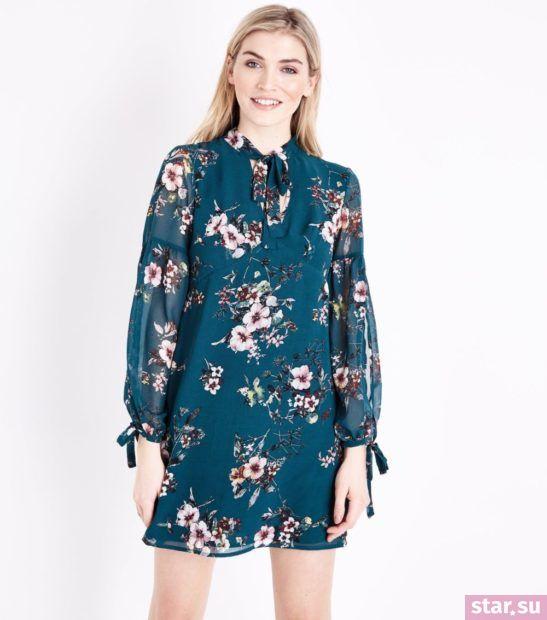 Модное синее в цветок платье весна лето 2018 года