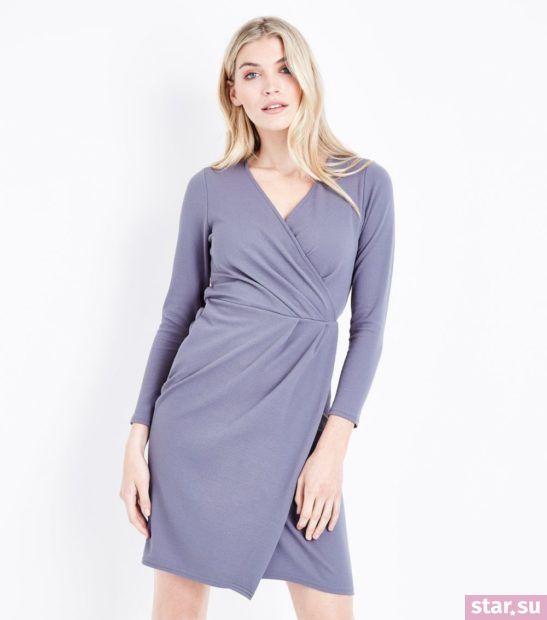 Модное серое платье весна лето 2018 года