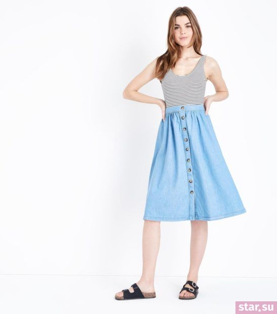 женская голубая юбка весна лето 2018 года