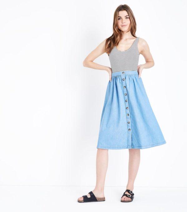 женская голубая юбка весна лето 2019 года