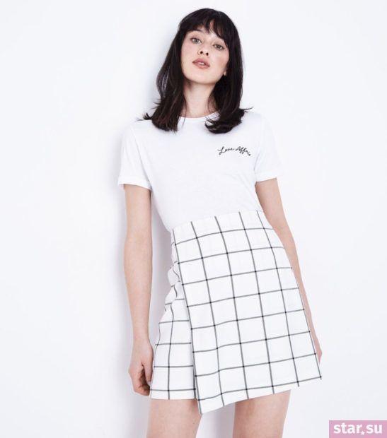 женская белая в клетку юбка весна лето 2018 года