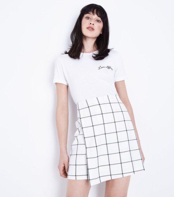 женская белая в клетку юбка весна лето 2019 года