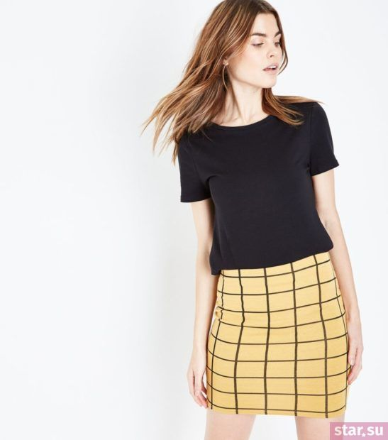 женская желтая в клетку юбка весна лето 2018 года