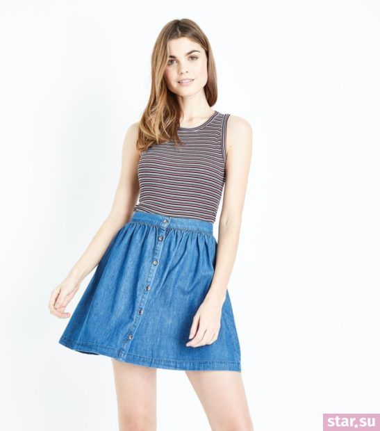 женская синяя юбка весна лето 2018 года