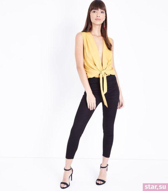 желтый с черным образ весна лето 2018