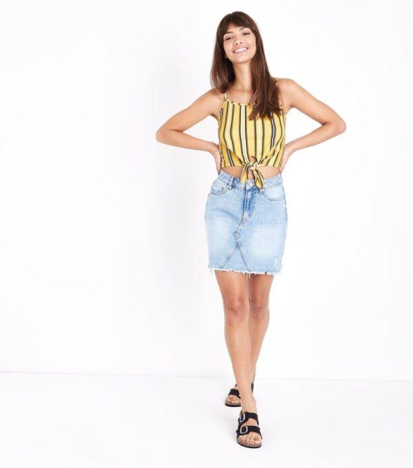 желтый с джинсой образ весна лето 2019