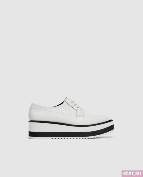 белые черные туфли на танкетке осень-зима