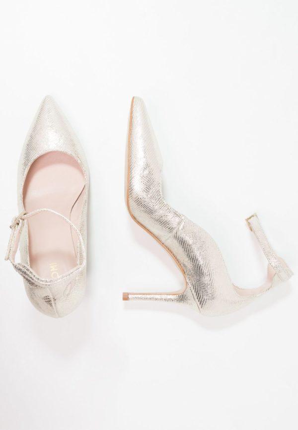 серебряная обувь на шпильке осень-зима